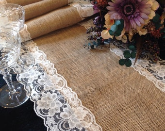 "Burlap and IVORY Lace Table Runner - Wedding Table Runner - 14"" Width; Lace on Edges - Country Home Decor, Farmhouse Decor, Rustic Wedding"