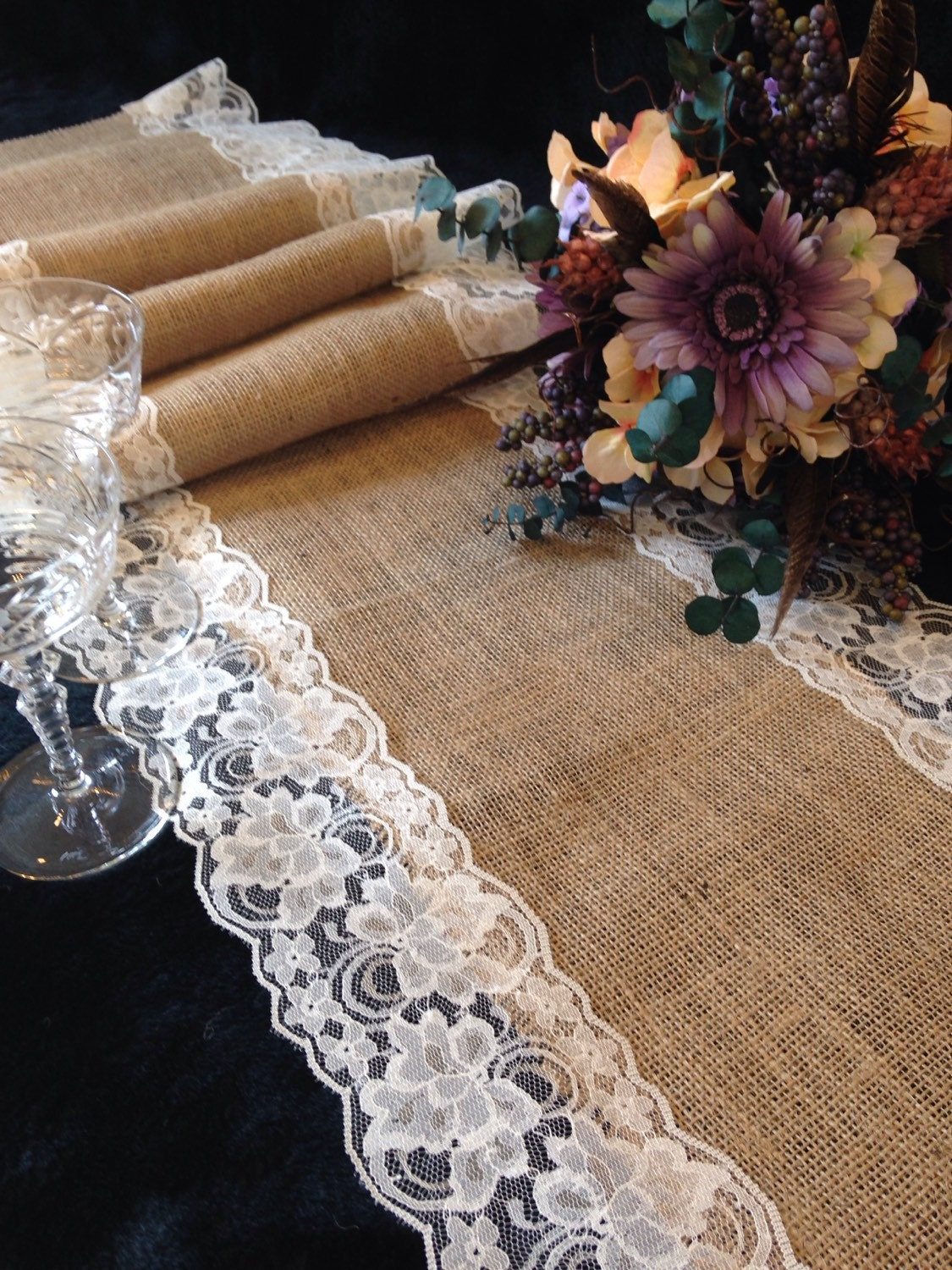 Burlap And Ivory Lace Table Runner Wedding Table Runner