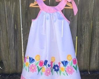 Spring flowers dress, size 4, handmade girls dress