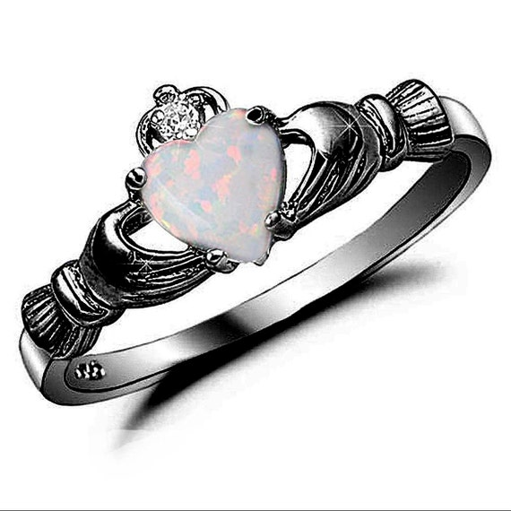 claddagh ring black gold 925 sterling silver by