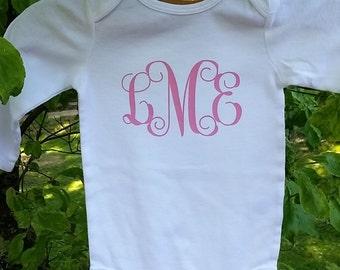 Monogrammed/Personalized Long Sleeved Onesie; Baby Gift; Baby Shower; Heat Transfer Vinyl