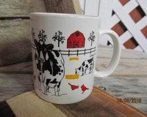 Vintage E Rosen Holstein Cow Cows on a Farm Big Red Barn Mug Coffee Cup