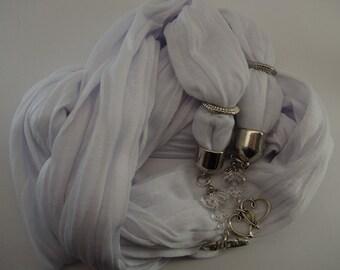 BEADED FASHION SCARF, Pashmina soft cotton, white, 1.8m long, beaded fringe, Persephone Design, The Sage Wreath, jewellery, accessory
