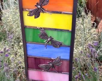 Rainbow suncatcher with dragonflies - indoors or outdoors, bright, colourful,fun
