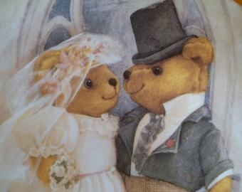 "Just Married Franklin Mint Heirloom Collectors Plate ""Just Married"" Teddy Bears"