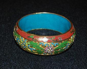 Vintage Chinese China Export Cloisonne Bracelet Chunky Bangle