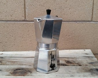 Silver Aluminum Bialetti Moka Express Espresso 3 Cups Made in Italy