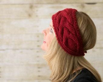 Cable Knit Headband, Knit Headband, Ear Warmer, Red - Ready to Ship