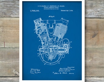 Patent Print, Spacke Engine, Internal Combustion Engine Patent, Motorcycle Engine Print, Engine Wall Decor, Moyorcycle Engine Blueprint P140