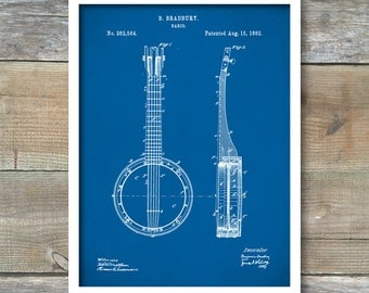 Banjo Patent, Banjo Poster, Banjo Print, Banjo Art, Banjo Decor, Banjo Blueprint, Banjo Wall Art, P97