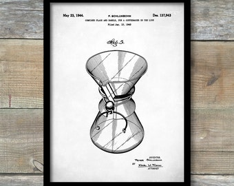 Coffee Pot Patent, Chemex Coffee Pot Poster, Coffee Pot Print, Chemex Coffee Pot Art, Coffee Pot Decor, Coffee Pot Wall Art, P175