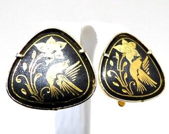 Black Enamel Earrings - Vintage, Damascene, Gold Tone, Black, Bird And Flower Motif, Clip On Earrings