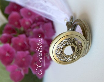 Ring pillow,  pocket watch for wedding, polka dots and pink cotton lace white, linen and lace ivory