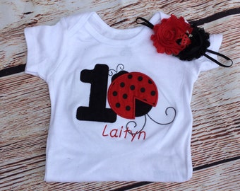 Red and black ladybug birthday outfit 1st birthday bodysuit and headband