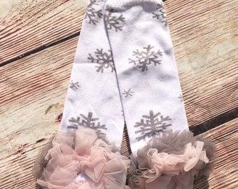 Snowflake leg warmers - wonderland ruffle leg warmers