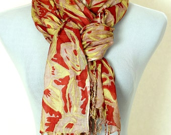 Tropical Floral Scarf (Red)