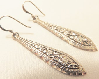 Vintage Sterling Silver Etched Long Dangle Earrings