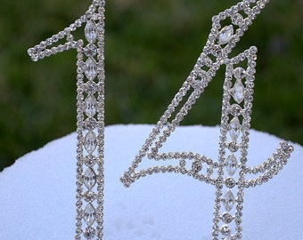 """Large 5"""" Crystal Rhinestone NUMBER Fourteen (14) Cake Topper Silver Fourteen 14th Birthday Party Anniversary Wedding CT140"""