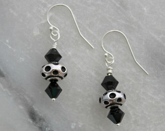 Silver Plated Pewter and Jet Swarovski Crystal Dangle Earrings  E101-Jet