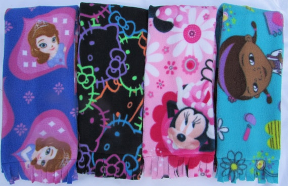 Girls fleece scarfs/Minnie mouse scarf/hello kitty scarf/doc mcstuffin scarf/Sophia scarf/toddler fleece scarf/toddler warm scarf