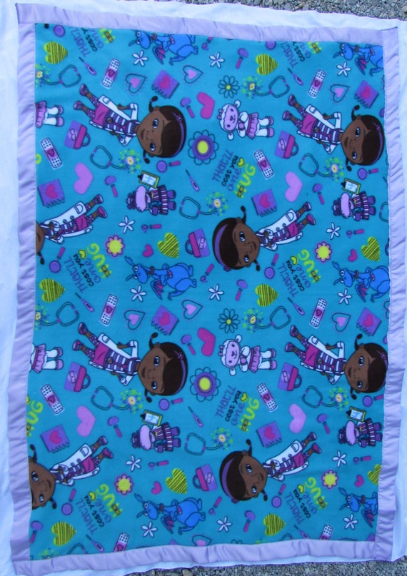 McStuffn fleece toddler blanket with satin edge