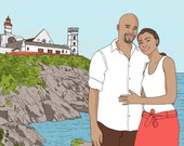 Custom Portrait, 2 people and a landscape! Digital drawing, unique custom gift for birthday, wedding, best friend, travelers or families !