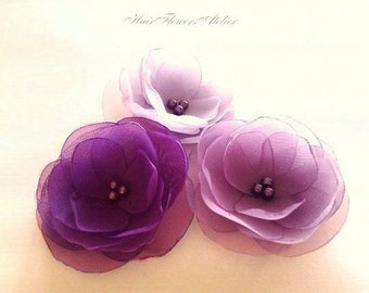 Purple Hair Flowers Purple Wedding Accessory Violet Hair Pins Purple Hair Clips Purple Flower Girl Radiant Orchid Hair Accessory - Set of 3