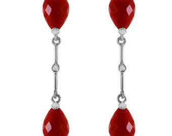 14k. Solid Gold Diamond & Ruby Dangling Earrings Fine Jewelry / Gemstone Jewelry (Yellow Gold, White Gold, Rose Gold)