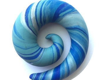 """SALE! 16mm (5/8"""") Shimmering Ocean Waves Spiral Earrings for Stretched Ears"""