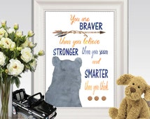 You are braver than you believe printable Winnie the Pooh quote print 5x7 8x10 11x14 Navy blue and orange watercolor Boy bedroom Wall art