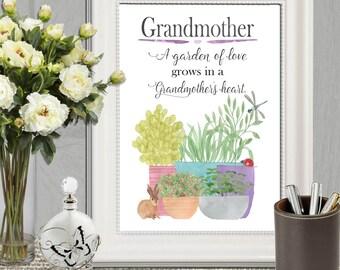 Grandmother gift print idea Personalized Grandma gift printable Poem wall art Watercolor pot plant wall decor 16x20 8x10 5x7 INSTANT DOWNOAD