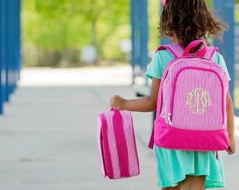 Monogrammed Pink Stripe PreSchool Back to School Backpack, Bookbag