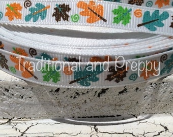 "New 3/8"" Glitter Fall Halloween Leaves on White Grosgrain Ribbon sold by the yard"