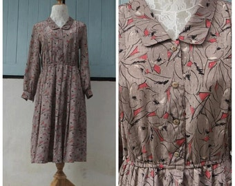 1970s vintage brown with red and black floral print dress/ long sleeves dress/ midi dress/