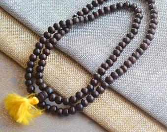 Rosewood Beads,Prayer Beads,Wooden Beads, Wood Bead, Wood Neckace, Prayer Mala, Rosewood Beads,108 Beads 6-7mm,Free Guru Beads, LUM14-2