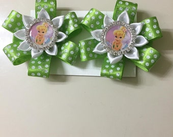 Disney Inspired Tinkerbell Hairclips - Handmade