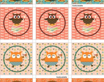 BACK to SCHOOL OWLS Cupcake Toppers, Gift Tags, Labels (2 in, 2.5 in) - Digital - Instant Download