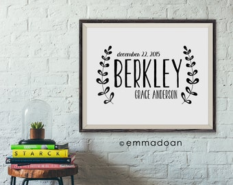 Baby Name Print, Personalized Nursery Baby Name Printable, Nursery Typography, Birth Announcement  Poster Gift, Birth Printable Gift