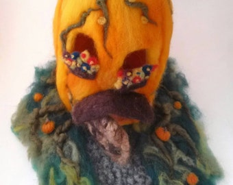 "Needle Felted Pumpkin House 9""x 9"""