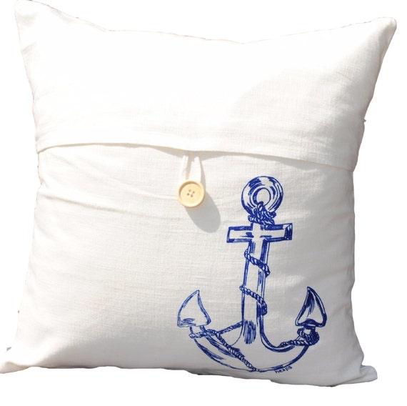 Nautical Design Throw Pillows : Blue Anchor Throw Pillow Cover Blue Nautical Throw Pillow