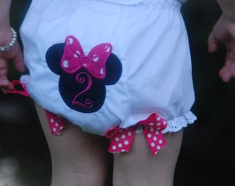 Embroidered First Birthday Bloomers - Embroidered 1st Birthday Bloomers - Embroidered First Birthday Diaper Cover - Custom Minnie Bloomers