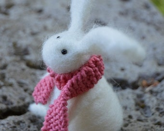 Needle Felt Rabbit Wearing Scarf,Handmade,Autumn,Bunny,Hare,Woodland,Critter,Needlefelt,Animal,Soft Sculpture,OOAK,Fibre Art,Miniature,Gift