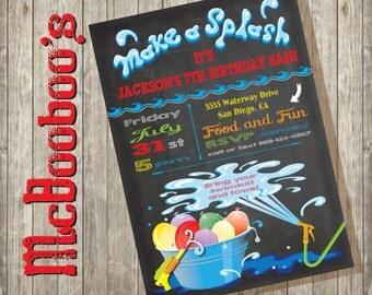 Chalkboard Water Balloon Birthday Pool Party Invitation