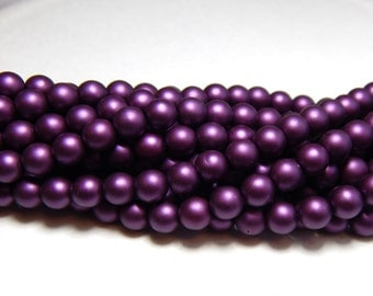 6mm Purple Glass Pearls, 6mm Purple Beads, 6mm Pearls, Matte Purple Beads, Purple Pearls, Czech Pearls, 6mm Round Pearl Beads T-092E