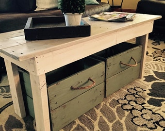 Distressed coffee table/Wood table/Entry bench/Mudroom bench/Farmhouse table