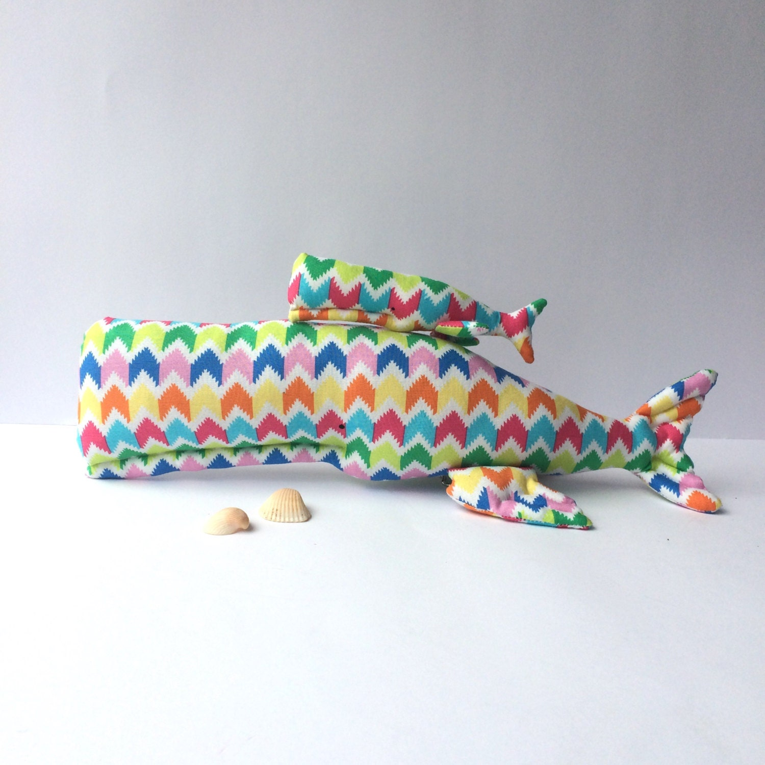 Nautical nursery whale toys plush whale set by for Nautical nursery fabric