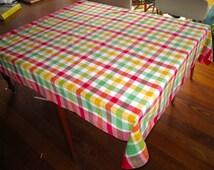 vintage cotton plaid tablecloth
