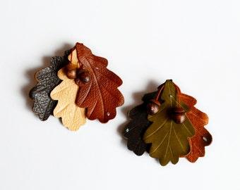brooch oak leaf shades brooch leather, botanical, leaf brooch  брошь из  кожи листочки дуба и желуди.Брошь, аксессуар. Ready to ship.