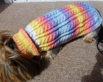 Hand knitted dog sweater with cables