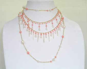 Pearl & Coral Necklace - item #1150